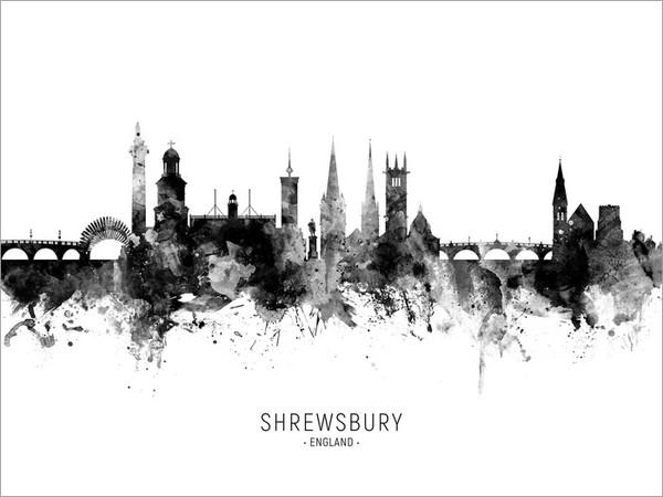 Shrewsbury England Skyline Cityscape Poster Art Print