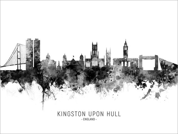 Kingston upon Hull England Skyline Cityscape Poster Art Print