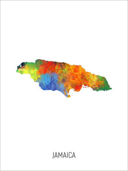Jamaica Map Poster Art Print