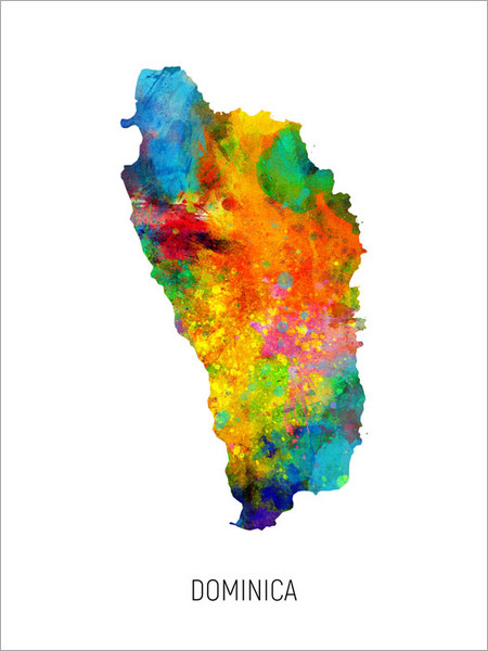 Dominica Map Poster Art Print