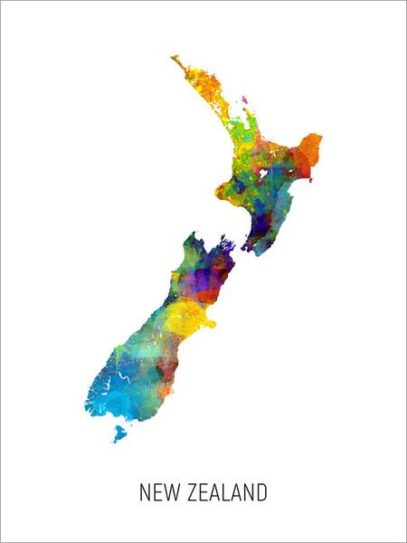 New Zealand Map Poster Art Print