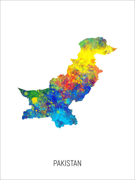 Pakistan Map Poster Art Print