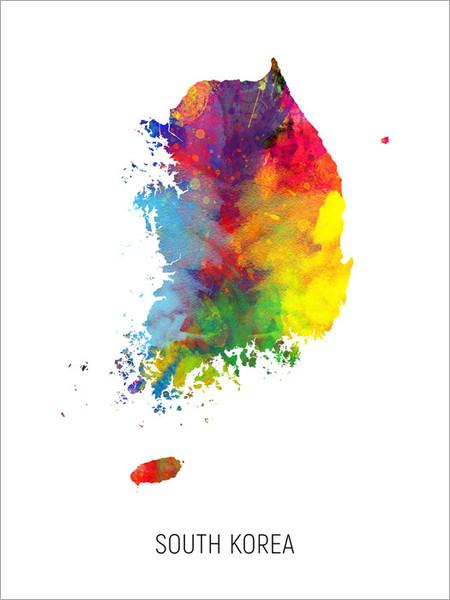South Korea Map Poster Art Print