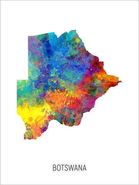 Botswana Map Poster Art Print