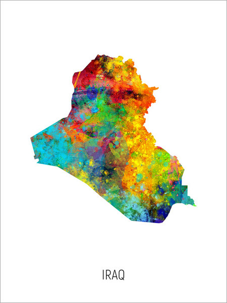 Iraq Map Poster Art Print