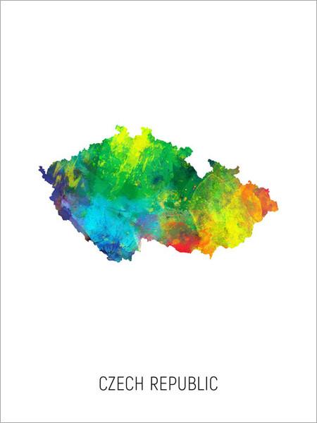 Czech Republic Map Poster Art Print