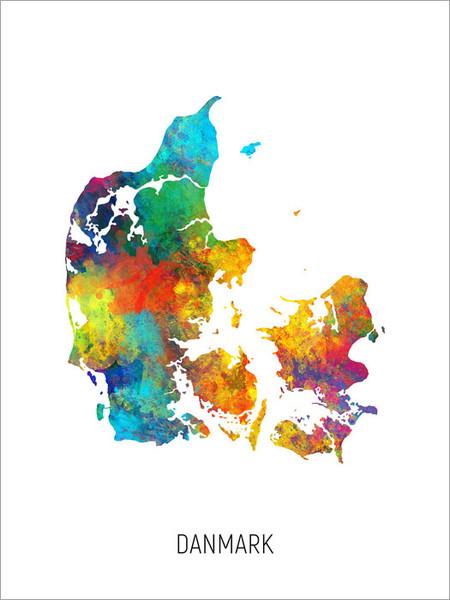 Danmark Map Poster Art Print