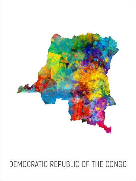 Democratic Republic of the Congo Map Poster Art Print