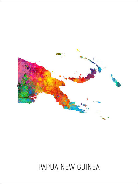 Papua New Guinea Map Poster Art Print