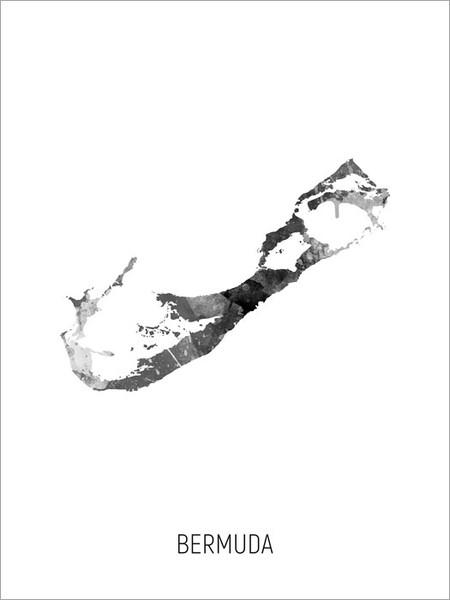 Bermuda Map Poster Art Print