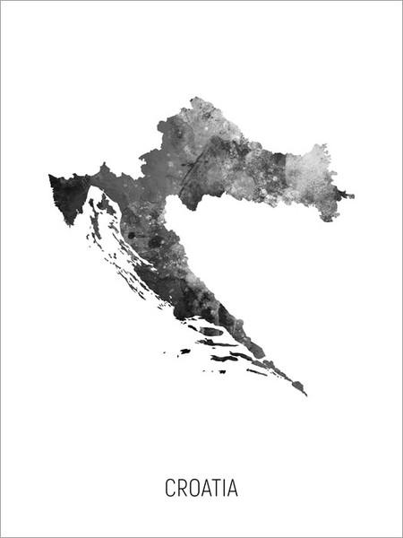 Croatia Map Poster Art Print