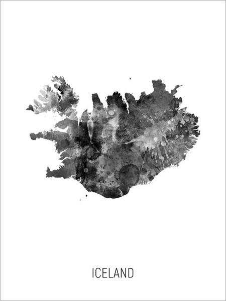 Iceland Map Poster Art Print