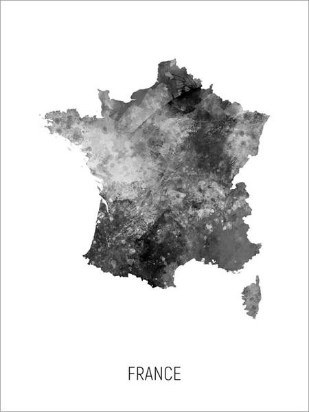 France Map Poster Art Print