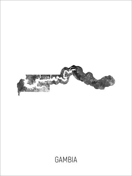 Gambia Map Poster Art Print
