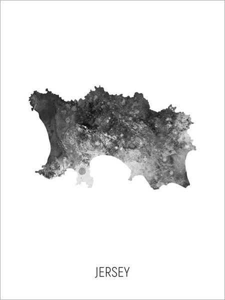 Jersey Map Poster Art Print
