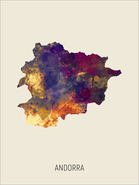 Andorra Map Poster Art Print