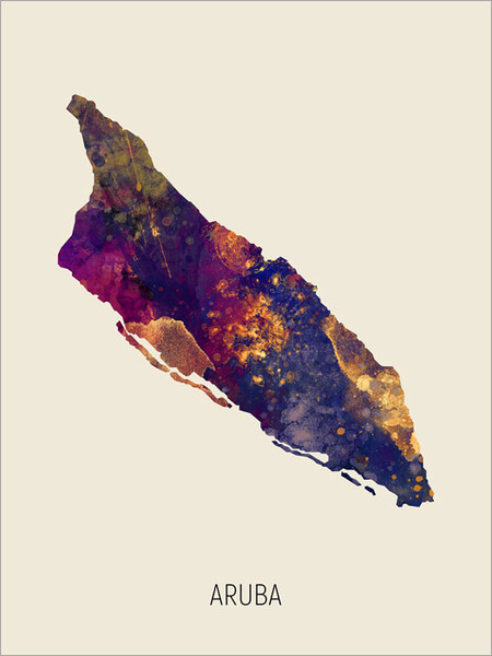 Aruba Map Poster Art Print