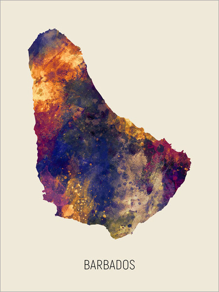 Barbados Map Poster Art Print