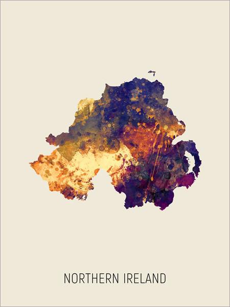 Northern Ireland Map Poster Art Print