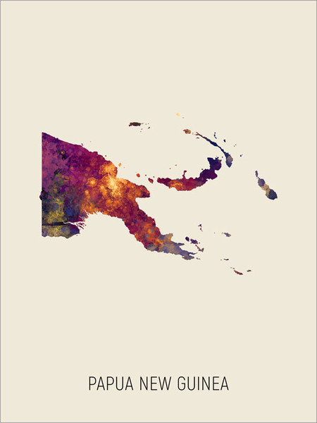 Papua New Guinea Map Poster Art Print