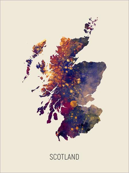 Scotland Map Poster Art Print