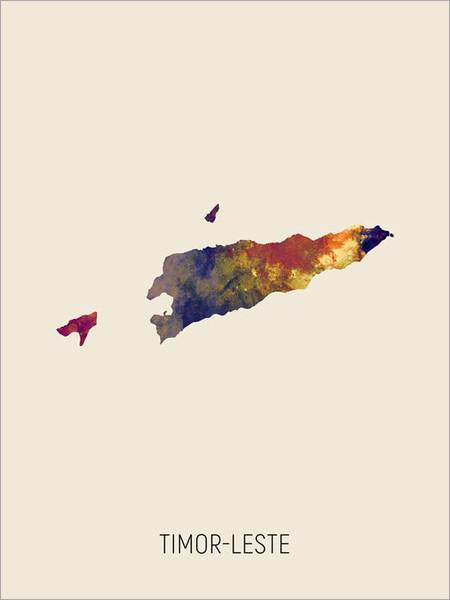 Timor-Leste Map Poster Art Print