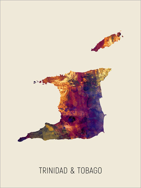 Trinidad & Tobago Map Poster Art Print