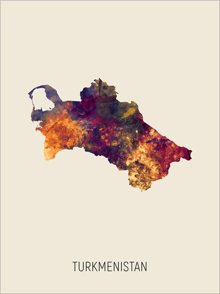 Turkmenistan Map Poster Art Print