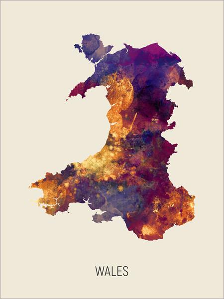 Wales Map Poster Art Print