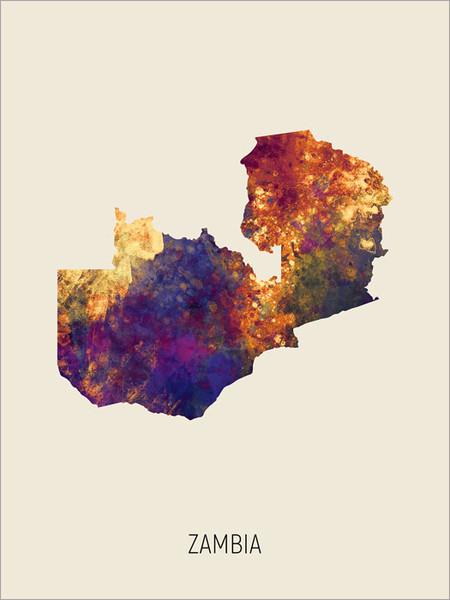 Zambia Map Poster Art Print