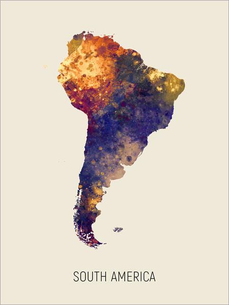 South America Map Poster Art Print