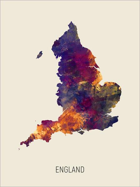 England Map Poster Art Print