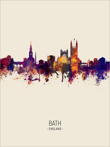 Bath England Skyline Cityscape Poster Art Print