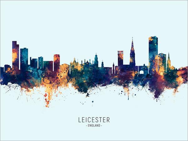 Leicester England Skyline Cityscape Poster Art Print