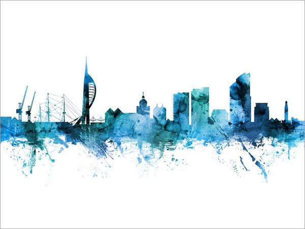 Portsmouth England Skyline Cityscape Poster Art Print