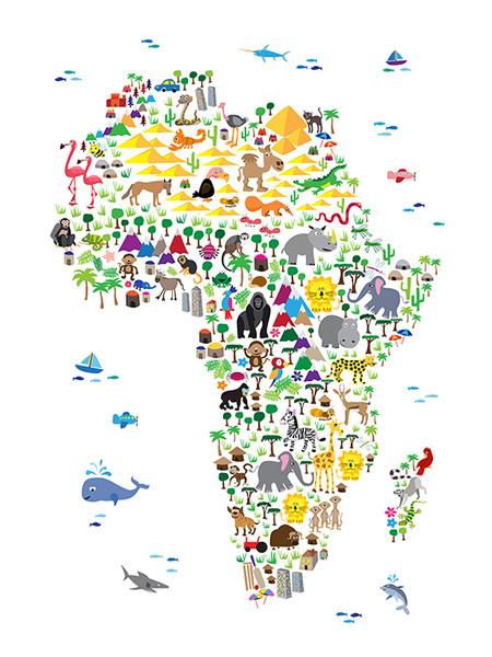 Children Animal Africa Map Poster Art Print