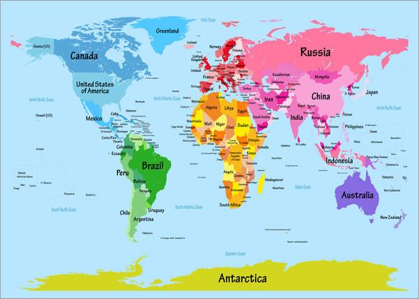 Children World Map Poster Art Print