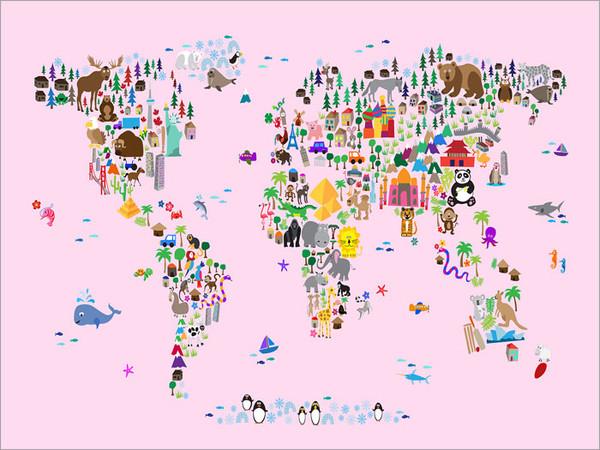 Children Animal World Map Poster Art Print