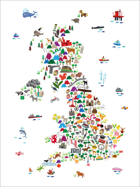 Children Animal UK Map Poster Art Print