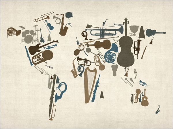 Music Instruments World Map Poster Art Print