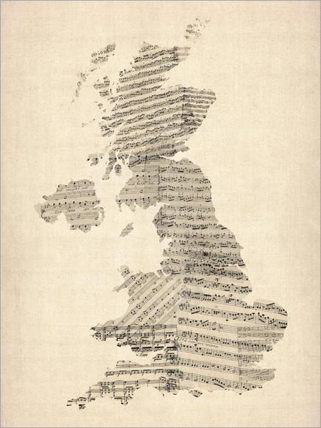Sheet Music United Kingdom Map Poster Art Print
