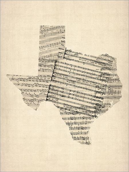 Sheet Music Texas Map Poster Art Print