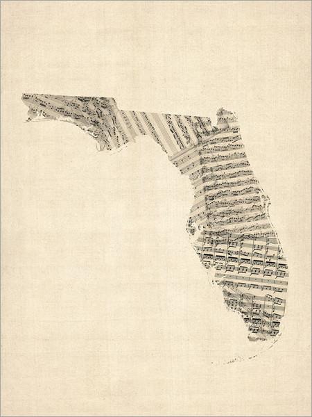 Sheet Music Florida United States Map Poster Art Print