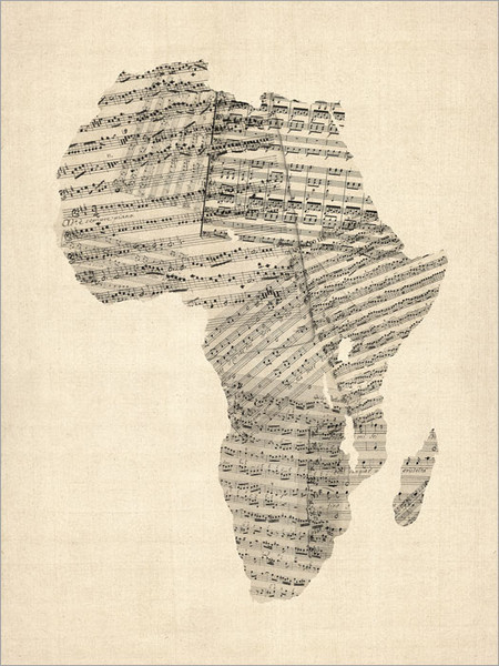 Sheet Music Africa Map Poster Art Print