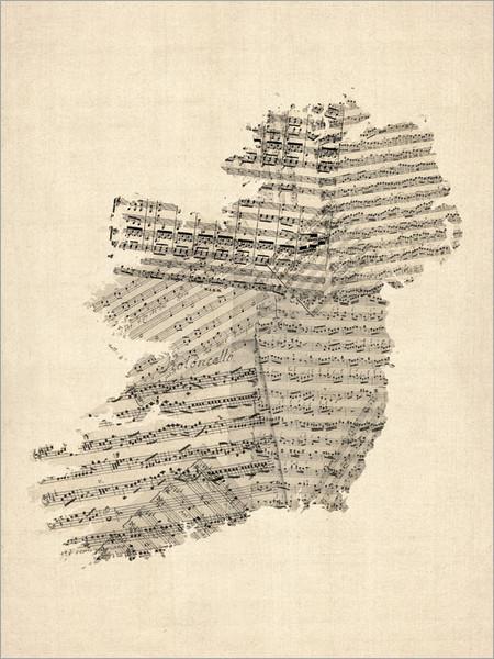 Sheet Music Ireland Map Poster Art Print