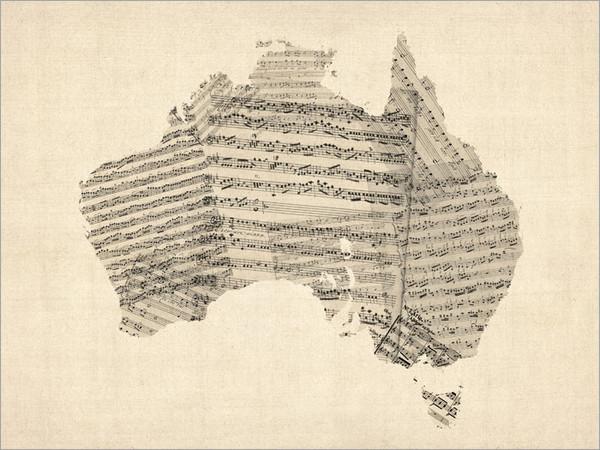 Sheet Music Australia Map Poster Art Print