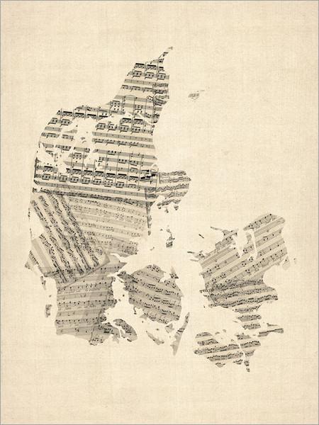 Sheet Music Denmark Map Poster Art Print