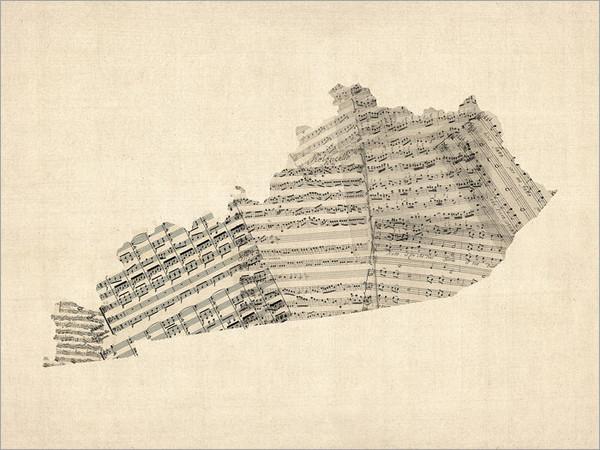 Sheet Music Kentucky United States Map Poster Art Print