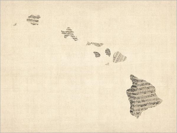 Sheet Music Hawaii United States Map Poster Art Print