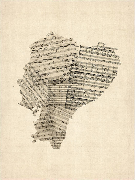 Sheet Music Ecuador Map Poster Art Print